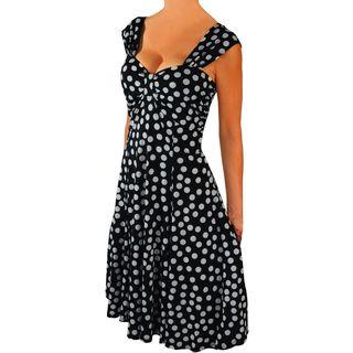 FunFash Women's Plus Size Black/ White Polka-Dot Dress