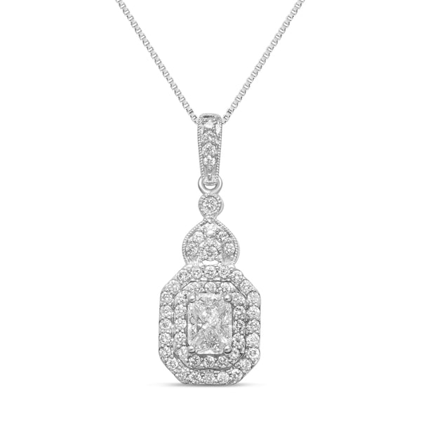 Unending Love 14k White Gold 3/4ct TDW Emerald-cut Diamond Pendant Necklace (H-I, SI3)