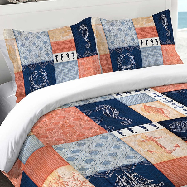 Navy and Coral Coastal Patchwork Standard Sham