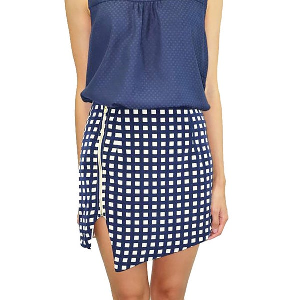 Relished Women's Navy Checked Square Print Envelope Skirt