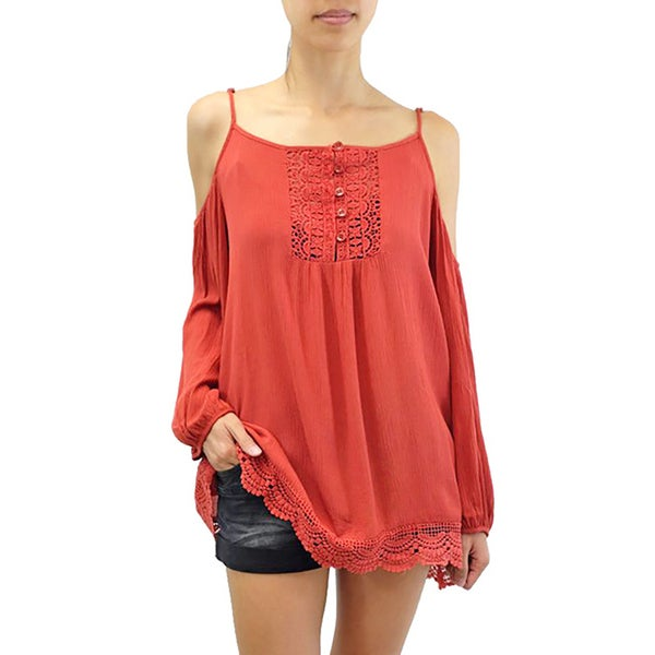 Relished Women's Rust Bare Shoulder Crepe Tunic