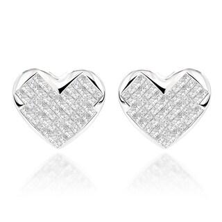 Luxurman 14k White Gold 2ct TDW Diamond Heart Earrings (H-I, SI1-SI2)