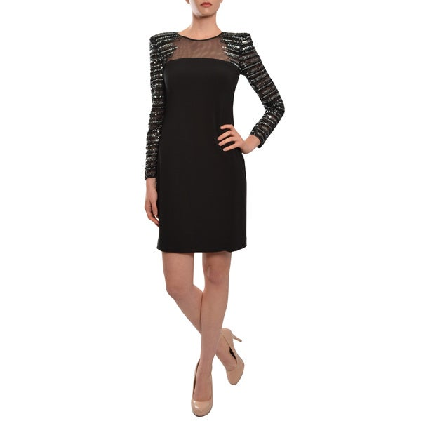 Basix Women's Black Label Sequin Long-Sleeve Dress
