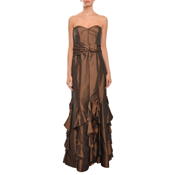 Badgley Mischka Women's Ruffle Metallic Satin Fitted Dress