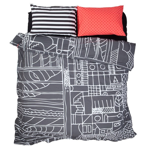 Grey Dream Life Duvet Cover