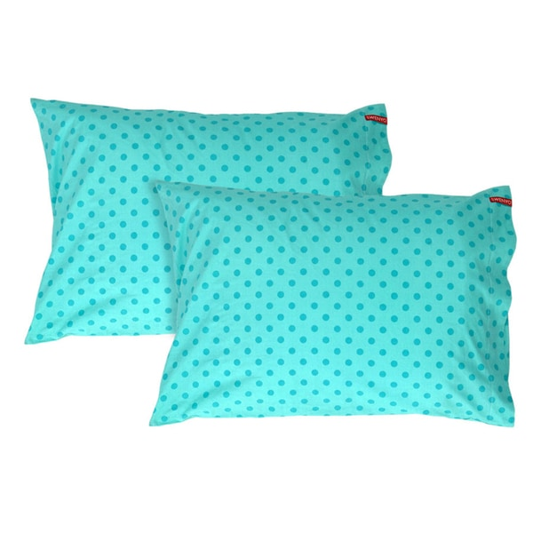 Teal Polka Dot Pillowcase (Set of 2)