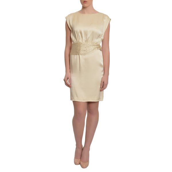 Candela NYC Women's Cap Sleeve Cream Silk Beaded Dress