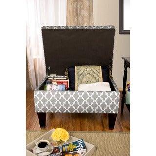 MJL Furniture Brooklyn Upholstered Fulton Square Legged Box Storage Ottoman