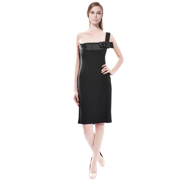 Angel Sanchez Women's Black Bow One Shoulder Evening Dress