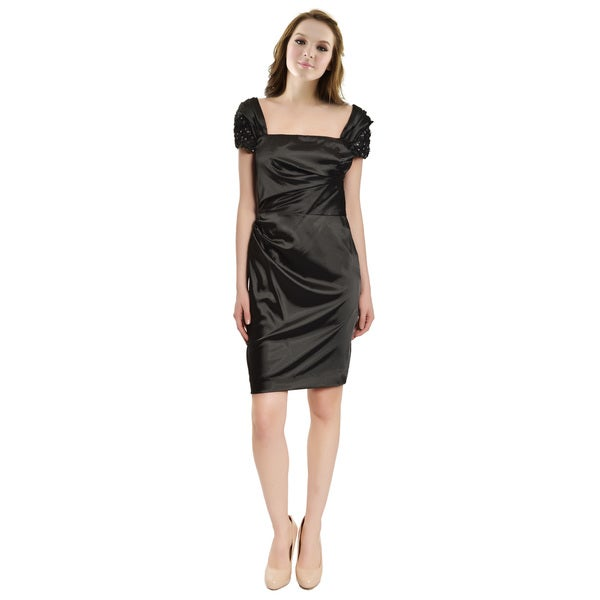Badgley Mischka Stunning Black Sateen Applique Ruched Cocktail Dress