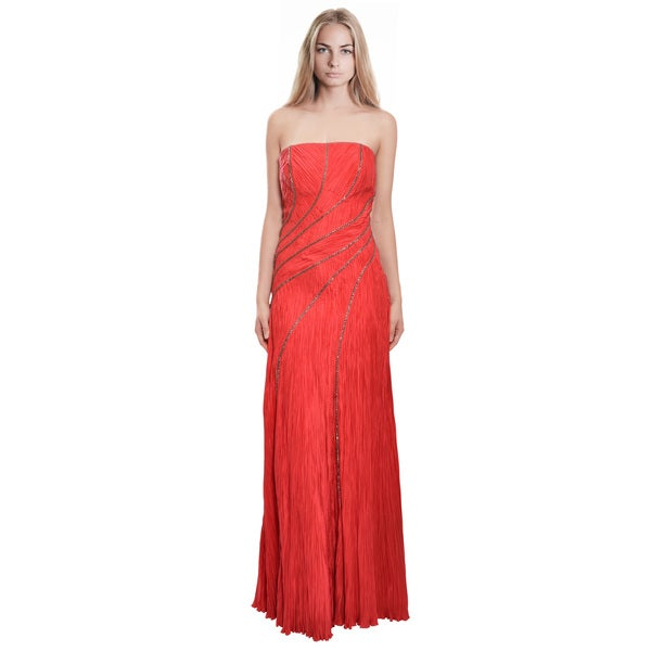 Carlos Miele Women's Curvaceous Flowing Lines Red Crinkle Silk Gown