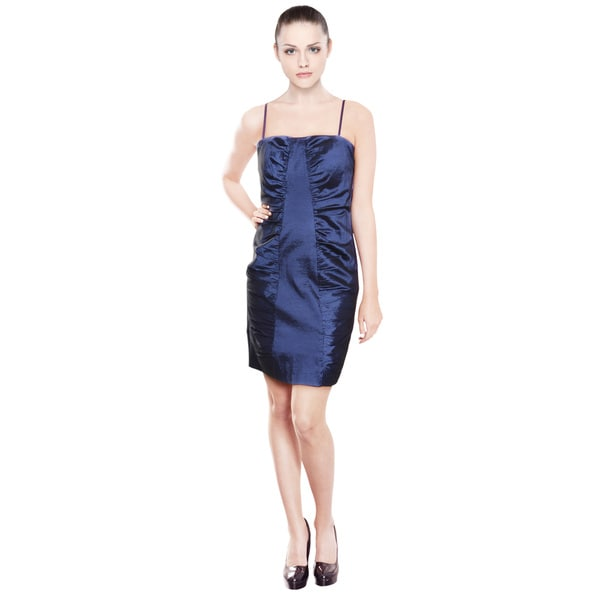 Calvin Klein Women's Striking Iridescent Sapphire Ruched Dress