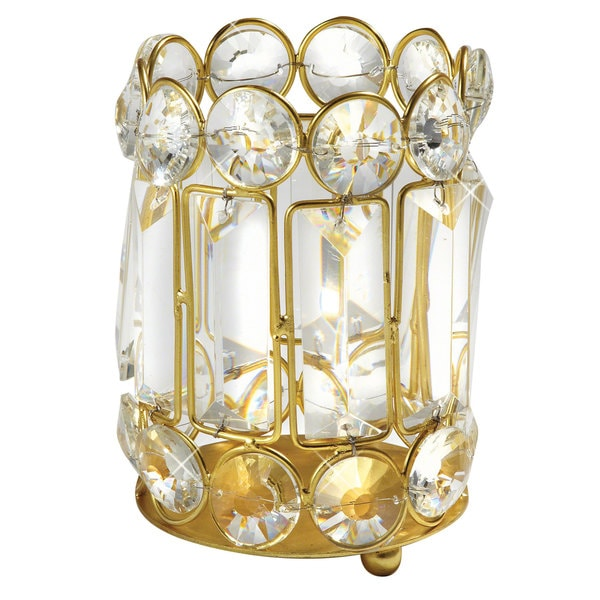 Elegance 5.25-inch Crystal and Gold Candle Holder 17254885