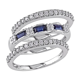 Miadora Signature Collection 10k White Gold Sapphire and 1/2ct TDW Diamond Three Piece Anniversary Rings Set (G-H, I2-I3)