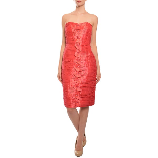 Carmen Marc Valvo Women's Iridescent Poppy Ruched Satin Strapless Evening Dress
