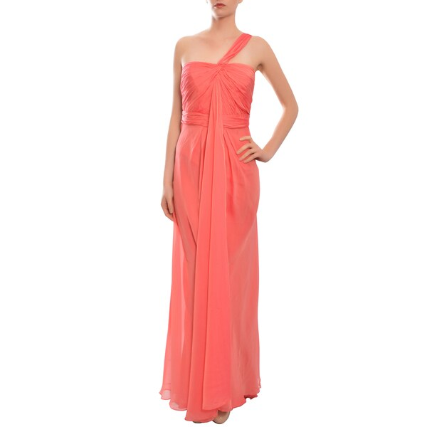 Carmen Marc Valvo Coral Asymmetrical Iridescent Fitted Bodice Gown