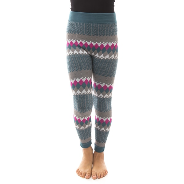 Soho Kids Big Girls' Teal/Grey Winter Fleece Leggings