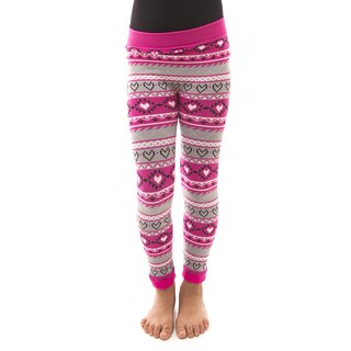 Soho Kids Girls' Pink/Grey Geo Winter Fleece Leggings