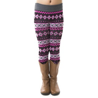Soho Kids Little Girls' Geo Pink Winter Fleece Leggings