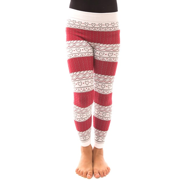 Soho Kids Girls' Red/White Heart Winter Fleece Leggings