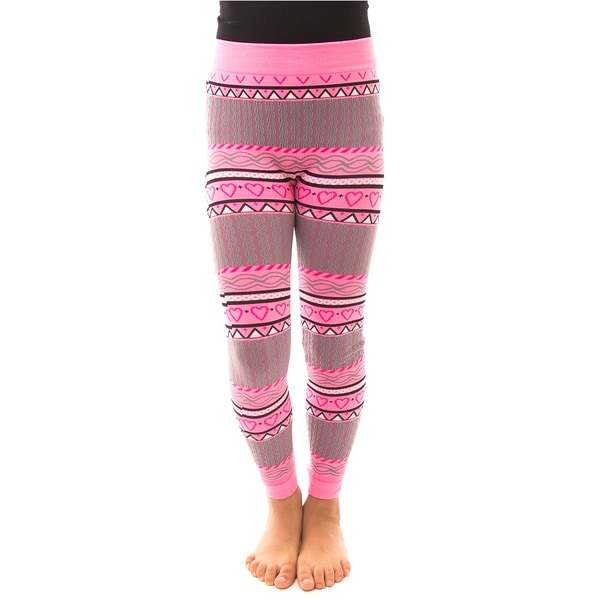 Soho Kids Girls' Pink Heart Winter Fleece Leggings