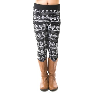 Soho Kids Big Girls' Black/White Tribal Winter Fleece Leggings