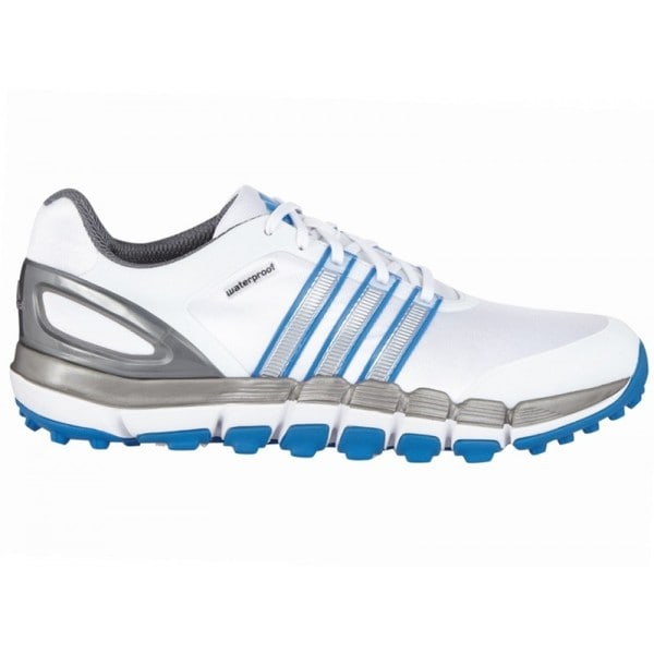 Adidas Men's Pure 360 Gripmore Sport White/ Silver Metallic/ Bahia Blue Golf Shoes 10.5 Medium Size(As Is Item)