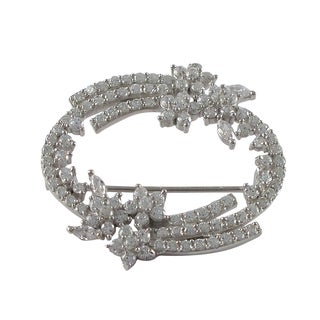 Sterling Silver Cubic Zirconia Floral Wreath Brooch Pin