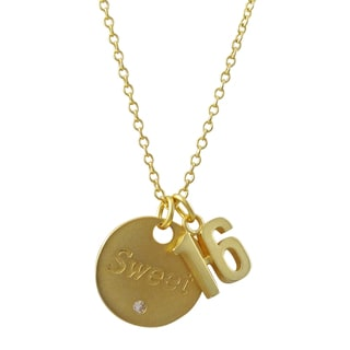 """Gold Finish """"Sweet Sixteen"""" Sentiment Tag Pendant Necklace"""