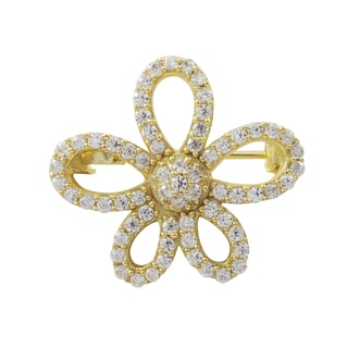 Gold Finish Sterling Silver Cubic Zirconia Flower Pin Brooch