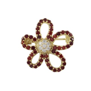 Gold Finish Sterling Silver Red Cubic Zirconia Flower Pin Brooch