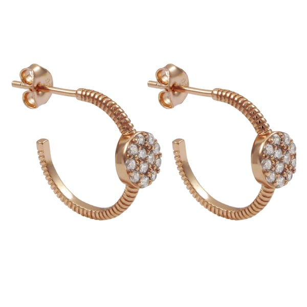 Luxiro Rose Gold Finish Sterling Silver Pave Cubic Zirconia Saddleback Hoop Earrings 17261417