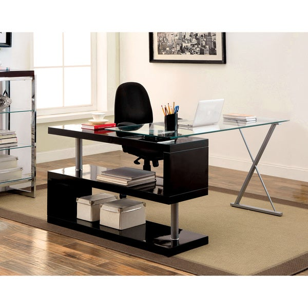 of America Marisa Contemporary High Gloss Convertible Executive Desk