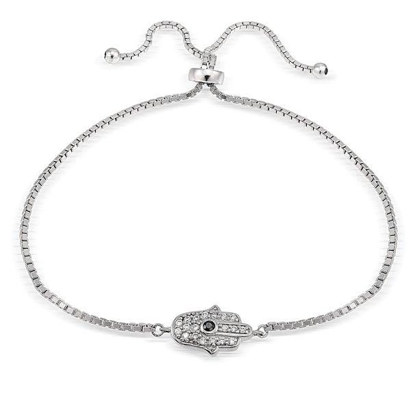 Icz Stonez Silver Cubic Zirconia Hamsa Hand Adjustable Bracelet