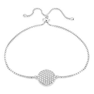 Icz Stonez Sterling Silver Cubic Zirconia Circle Charm Adjustable Bolo Bracelet