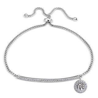 Icz Stonez Cubic Zirconia 'Love' Charm Bar Adjustable Bolo Bracelet