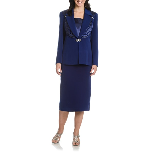 Giovanna Collection Women's Ribbon Tiered Beaded 3-piece Skirt Suit(Navy/ Size 18) (As Is Item)