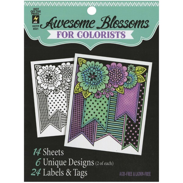 Hot Off The Press Colorist Coloring Book 5inX6in Awesome Blossoms