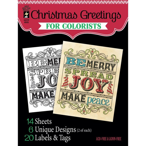 Hot Off The Press Colorist Coloring Book 5inX6in Christmas Greetings