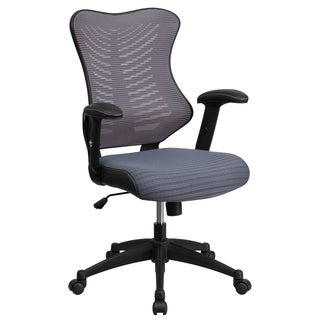 Joni Grey Adjustable Swivel Office Chair With Mesh Padded Seat