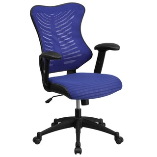 Joni Blue Adjustable Swivel Office Chair With Mesh Padded Seat