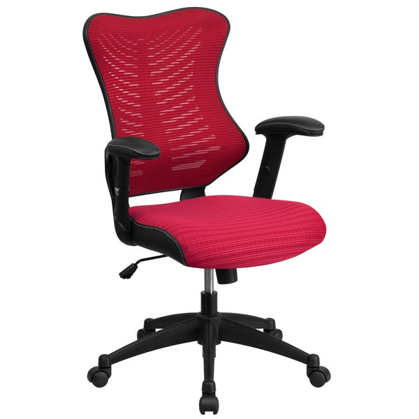 Joni Burgundy Adjustable Swivel Office Chair With Mesh Padded Seat