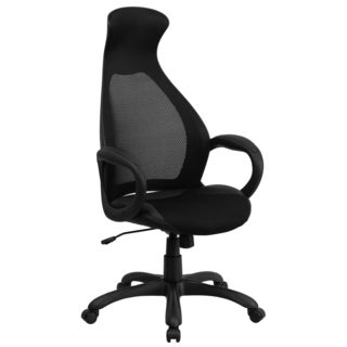 Nucleious Black Mesh And Leatherette Adjustable Swivel Executive Office Chair