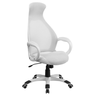 Nucleious White Mesh And Leatherette Adjustable Swivel Executive Office Chair