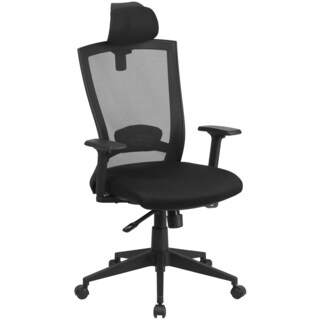 Frida Black Mesh Executive Swivel Office Chair with Back Angle Adjustment and Headrest