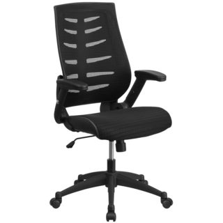 Aerial Black Designer Mesh Executive Swivel Office Chair With Height Adjustable Flip Up Arms