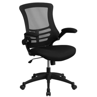 Muria Black Swivel Office Chair with Mesh Padded Seat and Flip Up Arms
