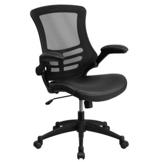 Garley Black Mesh Back Swivel Office Chair with Leather Padded Seat and Flip Up Arms