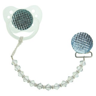 Quilted Crystal Pacifier Gift Set with Crystals