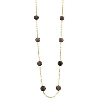 Fremada 14k Yellow Gold Smoky Quartz Station Necklace (25 inches)